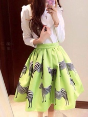 shirt,midi skirt,midi,midiskirt,neon,zebra shirt,zebra,aliexpress,free shipping,skirt,green skirt,animal zebra print green skirt,pleated skirt,bottoms,clothes,cute,beautiful,fashion,girly,outfit,sammydress,green