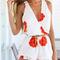 Retro flower print v-neck sleeveless chiffon jumpsuits
