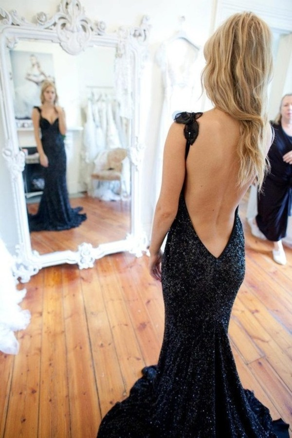 Deep Low Back Wedding Dress : Sequin covered mermaid sleeveless long prom dress with