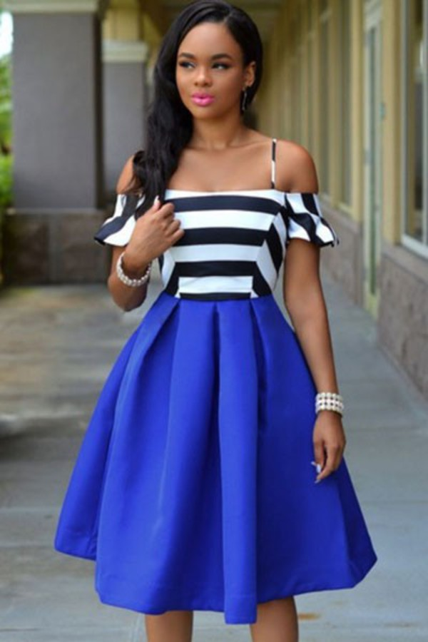 Royal blue black and white dress - White dress