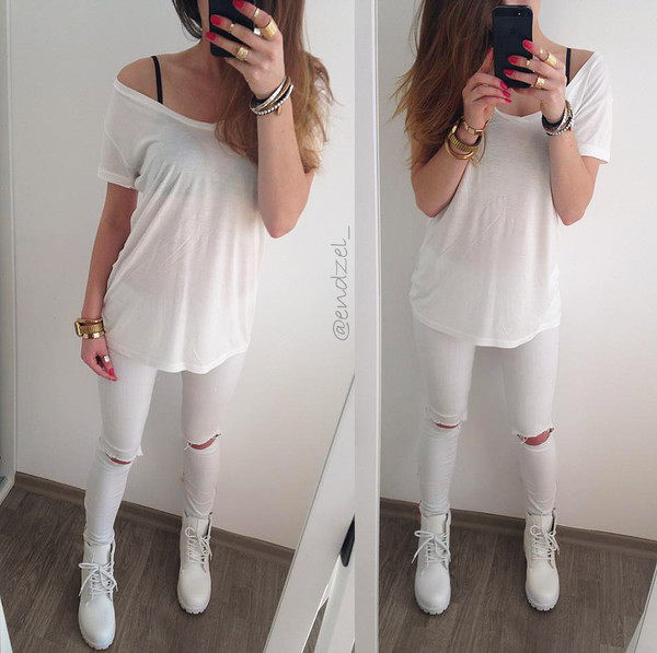 ASOS Ridley Skinny Jeans in White with Thigh Rip And Busted Knees ...