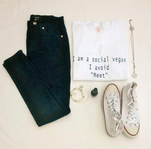 jeans t-shirt black jeans blouse necklace denim cute white shirt tshirt with text shirt top vegan black denim converse tshirt dress, stripey, stripes, black, black and white, dress girly tumblr girl tumblr outfit tumblr shirt tumblr saying outfits white white converse