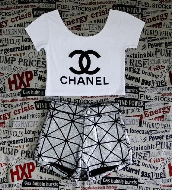 CC Black Print Womens Crop Top Ladies Short Sleeve Stretch T Shirt Tee