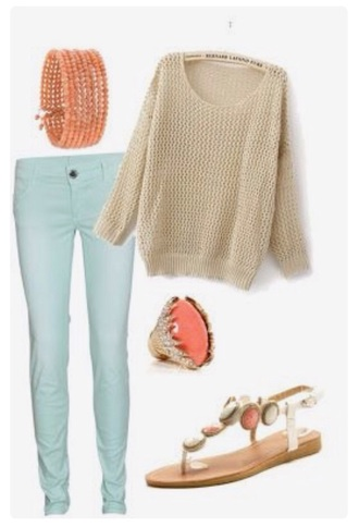 sweater nude pullover jeans mint