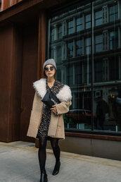 coat,tumblr,camel,camel coat,fur collar coat,dress,mini dress,printed dress,tights,opaque tights,boots,black boots,grey beanie,beanie