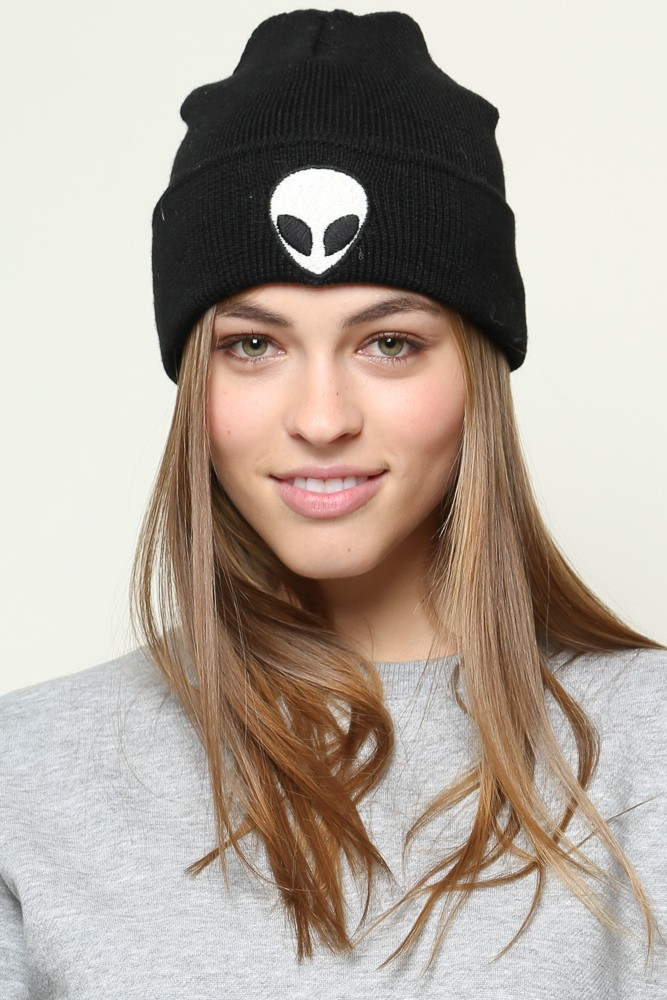 Brandy ♥ Melville | Alien Embroidery Beanie - Hats & Beanies - Accessories