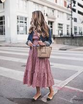 dress,tumblr,midi dress,pink dress,floral,floral dress,flats,bag,nude bag,denim,denim jacket,blue jacket,jacket,spring outfits,spring dress,celine bag,the teacher diva,blogger