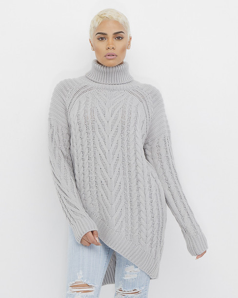 Sweater: oversized, grey, turtleneck sweater, oversized sweater ...