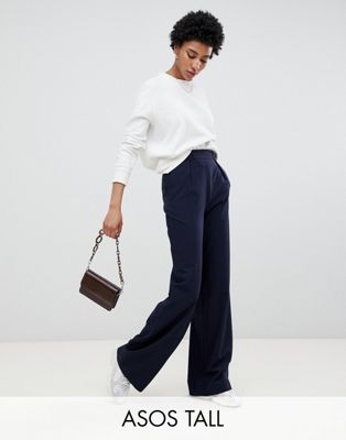 ASOS DESIGN Tall wide leg trousers with pleat detail at asos.com