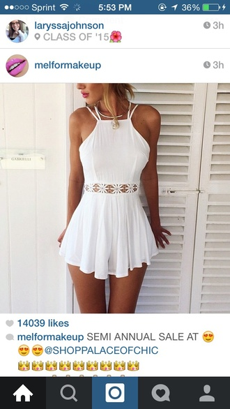 dress white dress pretty jumpsuit white outfit romper white t-shirt fashion style cute top lace dress summer dress white lace top lace blanco midriff beach outfit summer outfits tan hot open front white romper cute classy girl white lace romper mini dress cream dress summer tumblr fashion vibe flowers white summer flawless short short dress shorts white lace dress