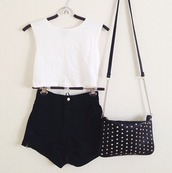 shorts,clothes,t-shirt,bag,high waisted,tumblr,shirt,crop tops,High waisted shorts,studded purse,tank top,white t-shirt,black shorts,cute bag,white,black,love  it,blouse,top,short,sweet,sommer,sunny,lack