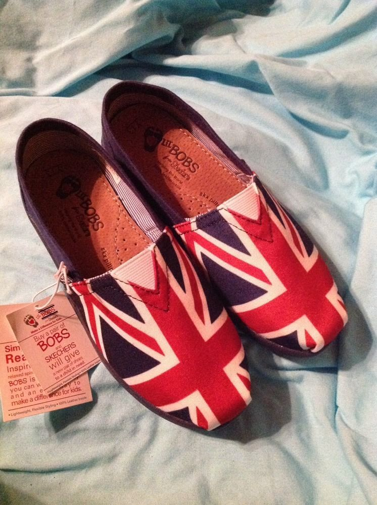 Skechers LiL BOBS British Flag Shoes Size 13