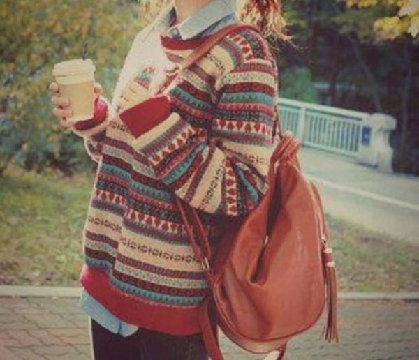 sweater oversized sweater t-shirt bag backpack leather leather backpack sweater weather vintage grunge stripes oversized hipster fall outfits pattern cute