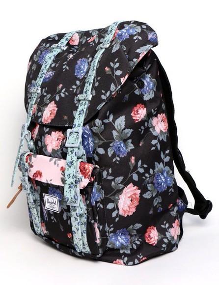 roses floral bag bookbag herschel supply co.