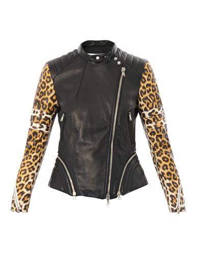 Leopard-print sleeve leather biker jacket | 3.1 Phillip Lim | ...