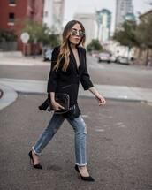 jacket,tumblr,blazer,black blazer,fringes,jeans,denim,blue jeans,ripped jeans,pumps,pointed toe pumps,high heel pumps,sunglasses