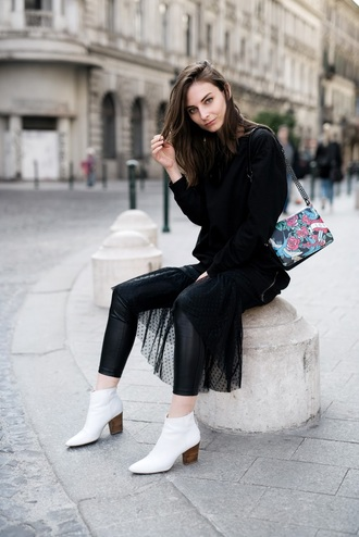 venka vision blogger bag shoes sweater dress jacket sunglasses ankle boots black pants spring outfits