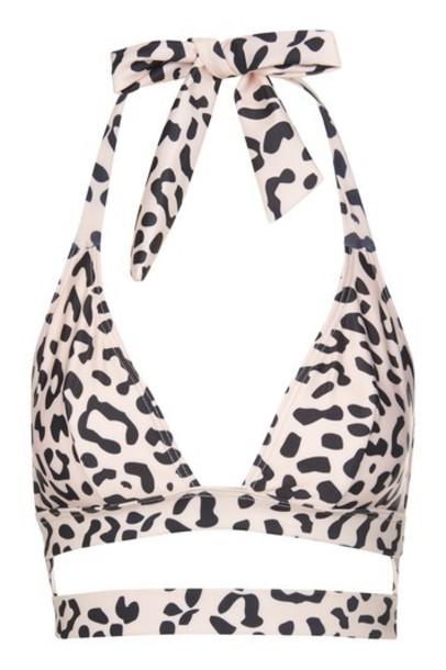 Topshop bikini bikini top triangle bikini wolf triangle cream swimwear