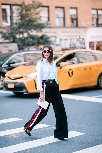 bag tumblr gucci belt bag shirt white shirt pants black pants wide-leg pants sunglasses side stripe pants athleisure