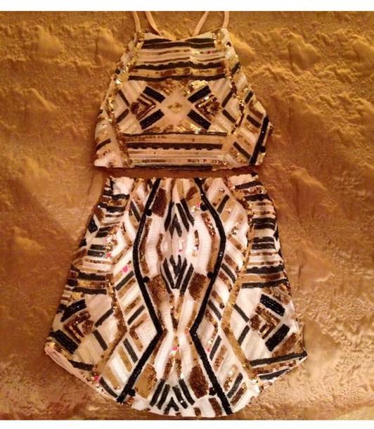 skirt sequin skirt sequin top two piece dress set set
