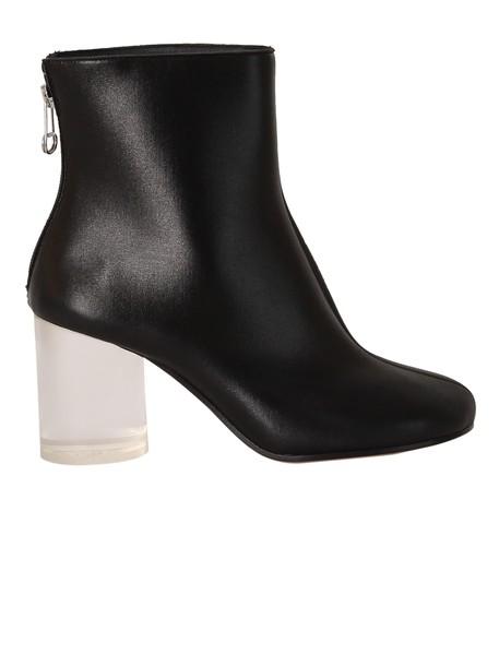MAISON MARGIELA heel transparent ankle boots black shoes