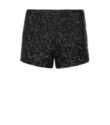 Petite Black Sequin Hotpants