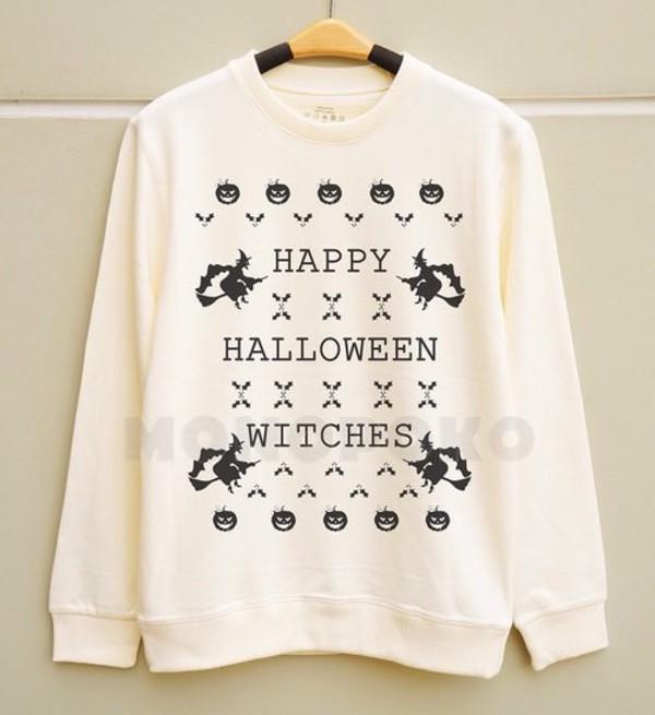 fall sweater sweater halloween pumpkin print fashion oversized sweater funny quote on it