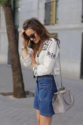 lady addict,blogger,blouse,denim skirt,boho shirt,grey bag