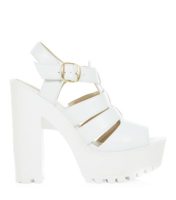 White Gladiator Block Heel Sandals