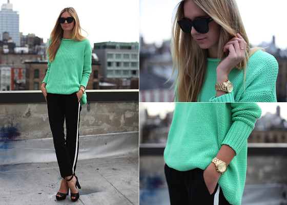Acne oversized mint sweater, michael kors watch, jacquie aiche ring, zara pants