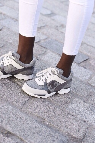 shoes chanel grey calfskin dc shoes chanel trainers basket chanel sneakers chanel shoes hair accessory sneakers summer sneakers white jeans