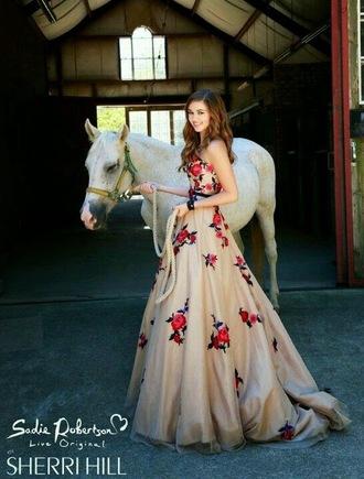 dress tan red pink floral dress flowers sadie robertson ball gown dress