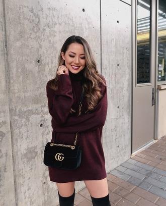 dress tumblr burgundy dress burgundy sweater dress knitted dress knit knitwear bag crossbody bag gucci bag