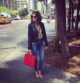 blouse shirt pumps lucy hale jacket biker jacket jeans denim red bag leather jacket animal print high waisted jeans green blouse