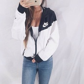 jacket,nike jacket,nike,windbreaker,black,white,raincoat