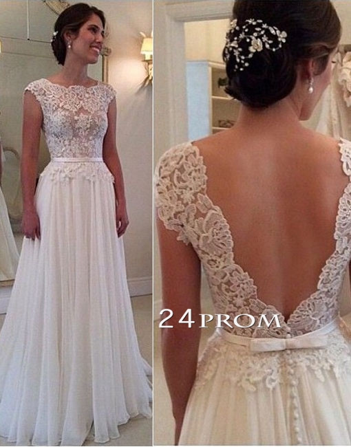 Line round neckline chiffon lace long wedding dresses, wedding gown