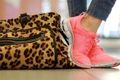 shoes,bag,running shoes,nike shoes,pink sneakers,nike,nike sneakers,leopard print,handbag