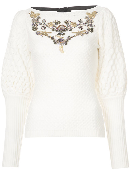 Sachin & Babi sweater women embellished white wool