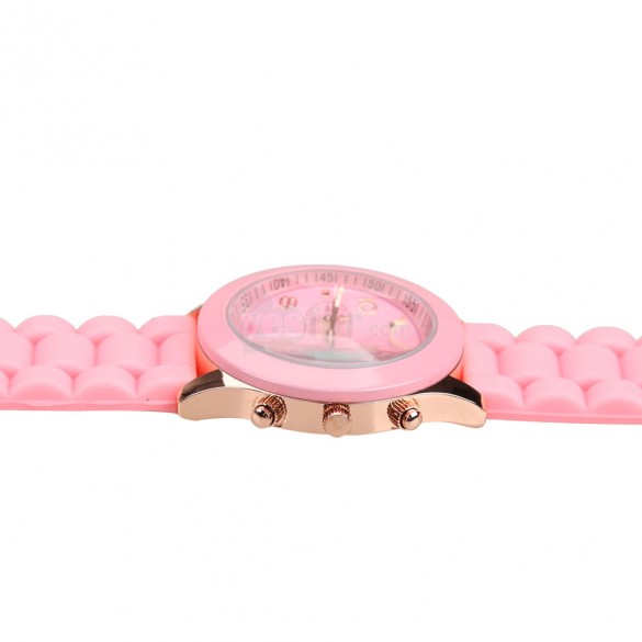Lady Jelly Candy Color Wrist Watch Quartz Silicon Watchband Round Dial Pink, unit price of $3.49 only - Yesfor.com