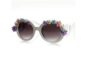 Newegg.com - Flower Adorned Round Oversized Sunglasses w/ Baroque Swirl Arms