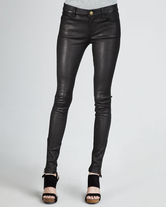 Current/Elliott The Skinny, Zip-Cuff Leather Leggings, Black - Neiman Marcus