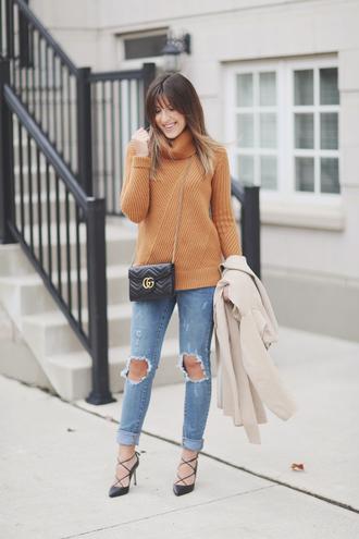 stephanie sterjovski - life + style blogger coat sweater shoes bag turtleneck sweater beige sweater gucci bag gucci black bag high heel pumps pumps
