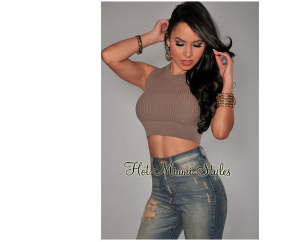 taupe shirt crop tops