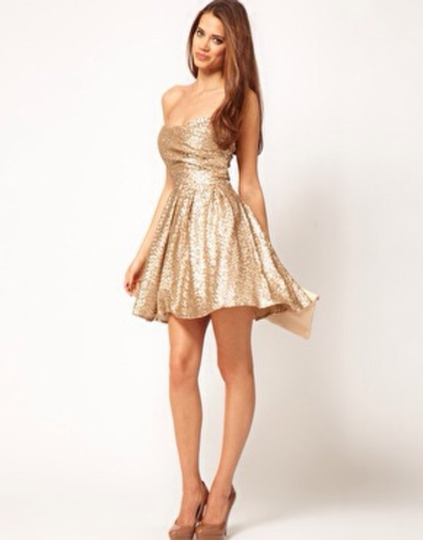 dress gold gold sequins