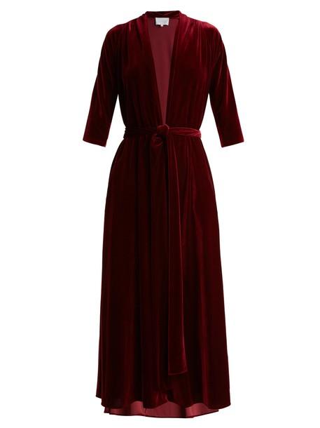 LUISA BECCARIA dress midi dress midi velvet burgundy