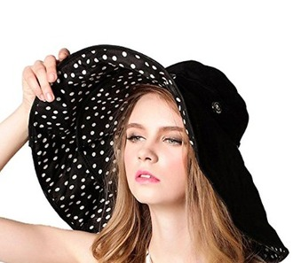 hat black white beach summer cap floppy pool sun block floppy hat reversible