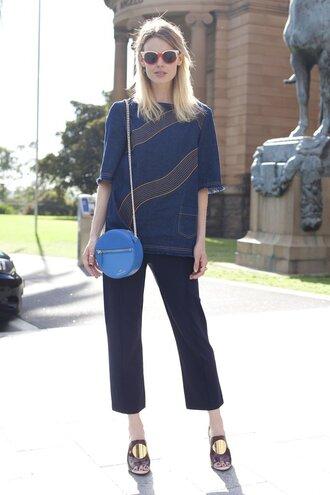 shoes office outfits denim denim top bag blue bag shoulder bag pants blue pants mules sunglasses red sunglasses