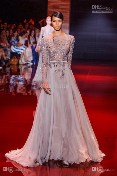 long gown long dress crystal v back beaded zuhair murad champagne Belt long sleeves dress