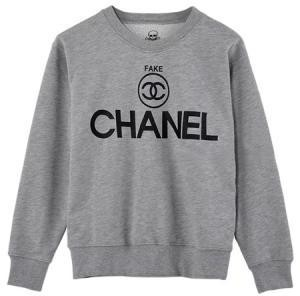 Spoof Fake Circular Logo Gray Sweatshirt(Couple Style Of Women And Men)