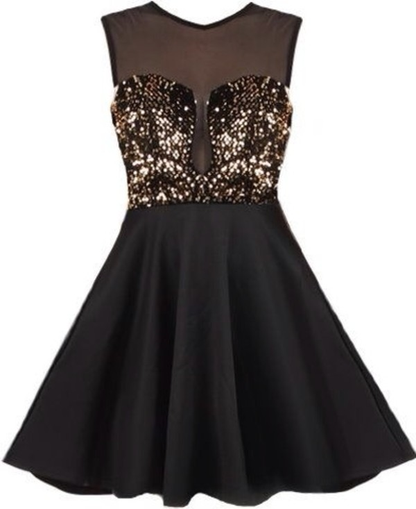 Material Girl Dress | Black Gold Sequin Party Dresses | Rickety ...